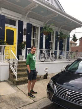 D is settling down in NOLA. He found himself a nice house with a yellow door and blue shutters, with a bear and a lexus.